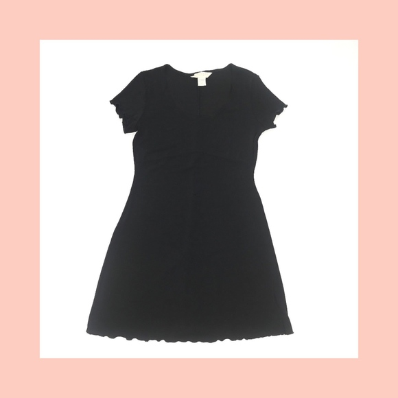 Express Dresses Tricot Mini Ruffle Little Black Dress Empire Waist